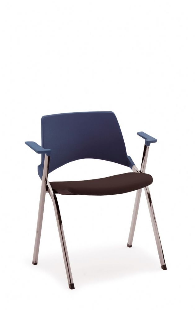 Pledge La Kendo Stackable Meeting Chair, 4 Leg Base With Arms. Upholstered Seat And Plastic Back